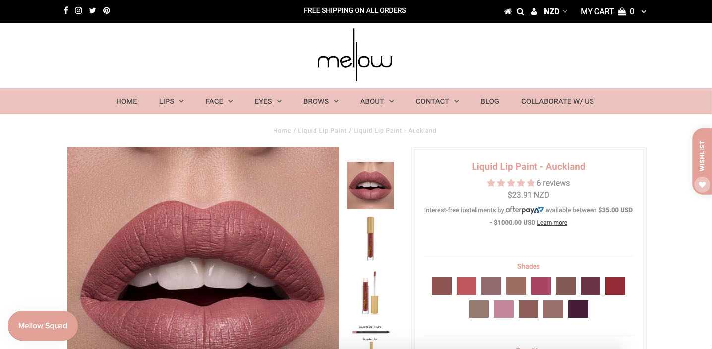 Mellow Cosmetics Website Product Page