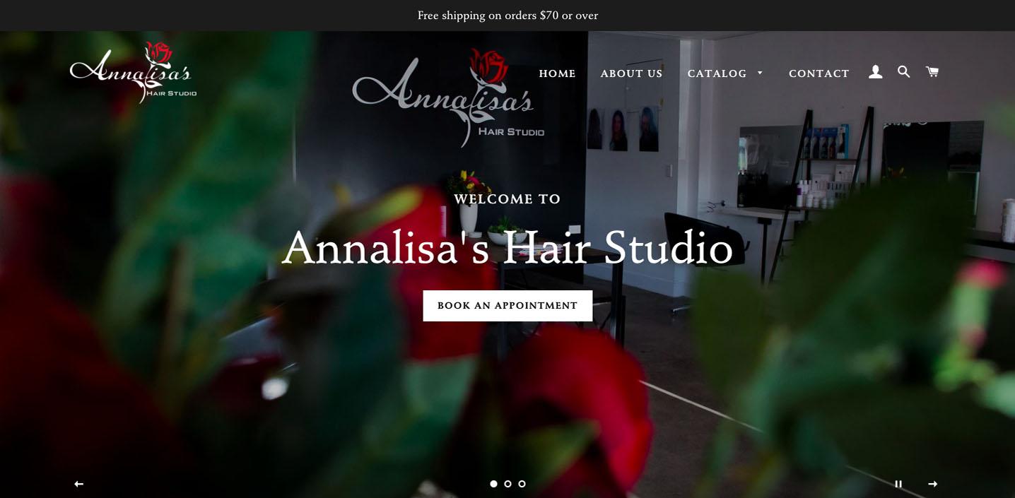 Annalisa's Hair Studio Website Home Page