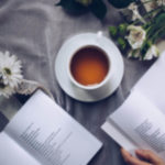 tea reading book flowers