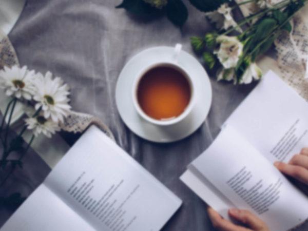 tea reading book flowers